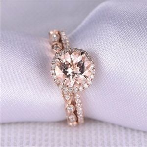 Jewelry - Rose Gold Pink Crystal Ring Set